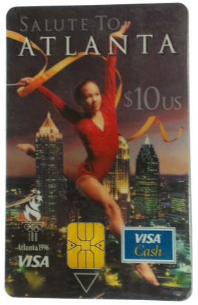 These prepaid chip cards were used to try and launch the technology in the U.S. during the 1996 Summer Olympics in Atlanta.